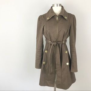 Anthropologie Tulle Small Trench Coat Jacket Khaki